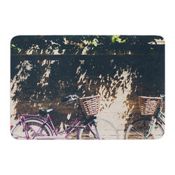 """KESS InHouse - Laura Evans """"Pretty Bicycles"""" Brown Green Memory Foam Bath Mat (17"""" x 24"""") - These super absorbent bath mats will add comfort and style to your bathroom. These memory foam mats will feel like you are in a spa every time you step out of the shower. Available in two sizes, 17"""" x 24"""" and 24"""" x 36"""", with a .5"""" thickness and non skid backing, these will fit every style of bathroom. Add comfort like never before in front of your vanity, sink, bathtub, shower or even laundry room. Machine wash cold, gentle cycle, tumble dry low or lay flat to dry. Printed on single side."""