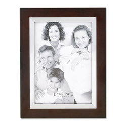Lawrence Frames - Walnut Wood 5x7 with Silver Metal Inner Bezel Picture Frame - Contemporary walnut brown wood picture frame with silver metal inner bezel.  High quality black wood backing with an easel for vertical or horizontal table top display, and hangers for vertical or horizontal wall mounting.    Hand finished 5x7 wood picture frame is made with exceptional workmanship and comes individually boxed.
