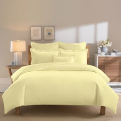 Real Simple - Real Simple Linear Yellow Duvet Cover - The Linear duvet cover brings clean sophistication and rich texture to your bedroom with a ribbed matelassé design woven in luxuriously soft 100% cotton.