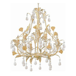 Crystorama - 6-Lights Hand Painted Wrought Iron Chandelier - Athena Collection offers casual yet elegant, whimsical and chic chandeliers.