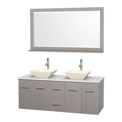 "Wyndham Collection - Centra 60"" Grey Oak Double Vanity, White Man-Made Stone Top, Bone Porcelain Sink - Simplicity and elegance combine in the perfect lines of the Centra vanity by the Wyndham Collection. If cutting-edge contemporary design is your style then the Centra vanity is for you - modern, chic and built to last a lifetime. Available with green glass, pure white man-made stone, ivory marble or white carrera marble counters, with stunning vessel or undermount sink(s) and matching mirror(s). Featuring soft close door hinges, drawer glides, and meticulously finished with brushed chrome hardware. The attention to detail on this beautiful vanity is second to none."