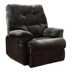 "Acme - Layce 2 Tone Charcoal Morgan Fabric & Leather-Like Standard Motion Recliner Chai - Layce 2 tone charcoal morgan fabric and leather like standard motion recliner chair with overstuffed seats and arms. This recliner features a and a 2 tone charcoal morgan fabric and leather like upholstery with a release latch on the side of the recliner, this is a manual recliner you need to push the footrest back to lock it in. Recliner measures 38"" x 37"" x 41""H. Some assembly may be required."