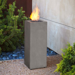 Grandin Road - Baltic Propane Fire Column - A modern look for an outdoor fire. Crafted from lightweight fiber-concrete. Lava rock filler, matching lid, and leveling feet included. Access the hidden, internally stored fuel tank through a removable door. Electronic ignition. Heat up the look of your outdoor space with the clean lines of the Real Flame Baltic Fire Column. This flame-topped pillar offers a narrow footprint that makes it a great fit, even in small outdoor spaces. Lava rock filler, electronic ignition, and a matching lid create a safe yet aesthetically pleasing addition to any porch or patio.. . . . . Uses one 1 lb. liquid propane tank (not included) for up to 5 hours of use. Basic assembly required. Cover unit with included vinyl cover when not in use. CSA Certified. 90-day limited manufacturer's warranty. Imported.