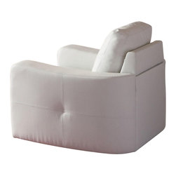 Coaster - Coaster Jasmine Leather Club Chair in White - Coaster - Club Chairs - 502713 -This leather chair will make a wonderful addition to your living room or den. Its contemporary shape enhances any room with its big, plush back cushion and box seat cushion. A stitched design adorns the back cushion, as well as the outsides of the square track arms. The slightly flared design creates an inviting feel, and tapered wooden block feet support this chair. Pair with the coordinating sofa and love seat for a lovely room setting.
