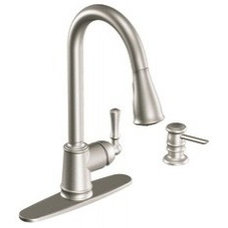 Lancaster Spot resist stainless one-handle high arc pulldown kitchen faucet - CA