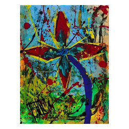 Palette Knife Flower, Original, Painting - Acrylic & ink on paper 8.5 x 11 inches  from the abstract flowers series