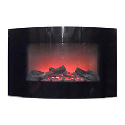 Proman Products - Proman Products Aspen Fireplace - Wall Mount with Black Curved Safety Glass - Aspen collection fireplace W3221,c wall mount with fire log effect, black curved safety glass,33W x 21H x 5D, 750W/1500W, bottom fan