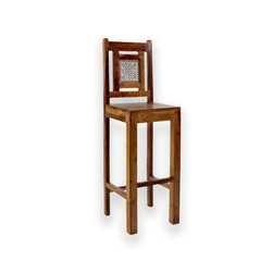 South by Far East Furniture - Bar Stool with Color Tile - Solid rosewood bar stools with colorful tile. Imported from India.