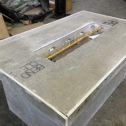 Custom Ready to Finish Fire Pit Frames - Custom fire table with 120K BTU All Brass Linear Crossfire Burner