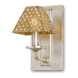 Currey & Company - Currey & Company Julia Rose Wall Sconce CC-5144 - This luminous, lavish wall sconce is the choice for the glamour minded. A wrought iron frame with Capiz Shell shade and Contemporary Silver Leaf finish, the Julia Rose is as alluring as it is dazzling.