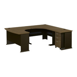 BBF - Bush Series A 4-Piece U-Shaped Right-Hand Computer Desk in Sienna Walnut - Bush - Office Sets - WC25566PKG2 - Bush Series A Three-Drawer File in Sienna Walnut/Bronze (included quantity: 1)  This three drawer file pedestal will give any office the storage space it needs. It is mobile on dual wheel casters so it can easily roll under desks when not in use. The file pedestal also features two box drawers for small office supplies, and a lockable letter/legal sized file drawer. It is finished in Sienna Walnut with Bronze vertical supports, and comes ready to assemble. Features: