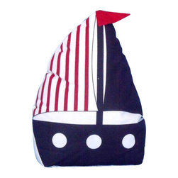 """Handcrafted Model Ships - Blue with Red Stripe Sailboat Door Stopper 10"""" - Beach Decoration - The Blue with Red Stripes Sailboat Door Stopper 10"""" allows you to show your love for sail boating and keep your door propped open. Beautifully hand stitched, this sailboat door stopper is a great way to allow the a ray of light inside on a nice warm summer day. This is the perfect nautical gift for a relative, friend, or coworker. This door stop is fully functional and a great gift for the true nautical enthusiast in your life. This nautical door stop has a weight of 2.5 lbs."""