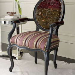 """Purple Stripe Chair - Add a touch of whimsy with a candy-striped chair in velvet upholstery.   A perfect accent chair for any room where additional seating would be welcomed.24.5""""W x 27""""D x 40""""T; 20"""" seat height, 27"""" arm height."""