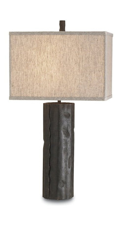 Currey and Company - Caravan Table Lamp - Wrought iron sheets are used to create a natural tree trunk look. The shade is natural linen.
