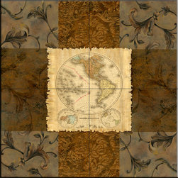 The Tile Mural Store (USA) - Tile Mural - Terre Orbis I  A  - Kitchen Backsplash Ideas - This beautiful artwork by Michelle Katz has been digitally reproduced for tiles and depicts a nice map with a brown toned border.    Tile murals of maps are timeless and are excellent to add to your kitchen backsplash tile project or your tub and shower surround bathroom tile project. Images of maps on tiles add a unique element to your tiling project and are a great kitchen backsplash idea. Use a map tile mural for a wall tile project in any room in your home where you want to add interest to a plain field of wall tile.