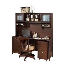 "Kathy Ireland Office by Bush Furniture - Kathy Ireland by Bush Grand Expressions Home Office Set with 2 Drawer Mobile Fil - Kathy Ireland Office by Bush Furniture - Office Sets - AMA004WM - You prize style organization and flexibility: the kathy ireland Office by Bush Furniture Home Office Suite with a mobile filing cabinet is perfect for you. The 66"""" desk and matching 66"""" hutch offer plenty of open and closed storage including filing space in the desk two cabinets with textured glass doors in the hutch open overhead storage and box drawers for supplies. The mobile 3-drawer hanging filing cabinet can be positioned anywhere. Locking casters make sure it won't roll away. All pieces are finished in warm molasses finish with antiqued pewter hardware and loaded with safety features including rounded corners and soft edges soft-close hinges and a tip kit to keep the hutch firmly in place. Bush Furniture Quick-to-Assemble technology makes assembly three to five times faster."