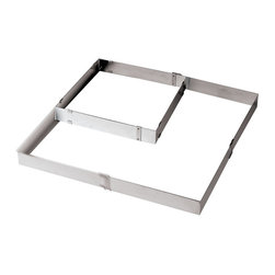 Paderno World Cuisine - Adjustable Square Frame Extender - This adjustable square frame extender (from 11 7/8 square to 22 1/2 square) is made of heavy, stainless-steel. It can be used in conjunction with a baking sheet to raise the height of the pastries. By itself it can be used to bake and layer various pastries.