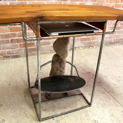 """Rock Sculpture Desk - What's a desk without a bit of whimsy?!  This perfect small desk is just what the Dr. ordered if you are looking for a desk or end table that's practical and simultaneously decorative.  That's exactly what our welder did when combining multiple natural elements into this one design.  The old pine top is perfectly paired with the copper shelf and raw steel legs and is the just the right size for anyone with a lap top.   The stone sculpture below adds the subtle touch of whimsy that makes this one of a kind.   Size seen:  40""""l x 17""""w x  28""""h."""