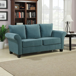 PORTFOLIO - Portfolio Provant Turquoise Blue Velvet Sofa - Part of the Portfolio Collection, this Provant transitional flared arm sofa is comfortable and stylish. The sofa is covered in a beautiful soft turquoise blue velvet.