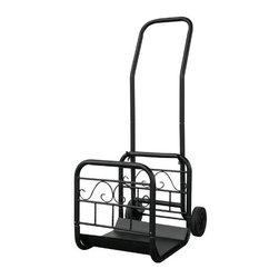 Blue Rhino - Wrought Iron Log Rack Black - Uniflame Large Black Wrought Iron Log Rack with Wheels and Removable Cart.