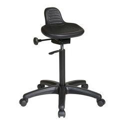 Office Star - Work Smart KH Series KH206 Saddle Seat Stool with Seat Angle Adjustment - Saddle seat stool with seat angle adjustment and glides. Pneumatic seat height adjustment. 360 degree swivel.