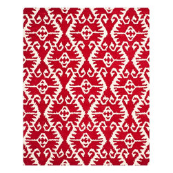 Safavieh - Stefano Hand Tufted Rug, Red / Ivory 8' X 10' - Construction Method: Hand Tufted. Country of Origin: India. Care Instructions: Vacuum Regularly To Prevent Dust And Crumbs From Settling Into The Roots Of The Fibers. Avoid Direct And Continuous Exposure To Sunlight. Use Rug Protectors Under The Legs Of Heavy Furniture To Avoid Flattening Piles. Do Not Pull Loose Ends; Clip Them With Scissors To Remove. Turn Carpet Occasionally To Equalize Wear. Remove Spills Immediately. Safavieh's artistry is vividly displayed in the Wyndham collection with designs ranging from contemporary florals to traditional global motifs. Each richly-hued rug is hand-tufted by master weavers in India of top quality wool. Several designs recreate the one-of-a-kind look of fashionable over-dyed antique rugs using a special multi-colored yarn that is meticulously colored using ages-old pot dyeing techniques. After the dye is carefully applied to each strand of wool, touches of organic viscose are added for soft silky luster as special highlights accents.