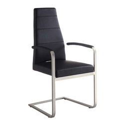 White Line Imports - Leatherette Arm Chair in Black - Wipe clean with a dry cloth. Brushed nickel finish. Assembly required. 21 in. W x 23 in. D x 40 in. H (78 lbs.)