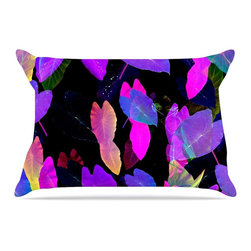 """Kess InHouse - Fernanda Sternieri """"Fluo Jungle"""" Purple Black Pillow Case, Standard, 30""""x20"""" - This pillowcase, is just as bunny soft as the Kess InHouse duvet. It's made of microfiber velvety fleece. This machine washable fleece pillow case is the perfect accent to any duvet. Be your Bed's Curator."""