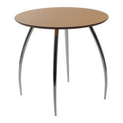 "Eurostyle - Bistro 30"" Table-Natural/Chrome - Do you need a place to rest a book, place a glass of wine or a bowl of nuts? This modern 30-inch-diameter table works in any room, with a clear lacquered surface that's easy to clean. It can even double as a play surface for the kids."