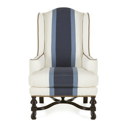 Massoud Colorblock Wing Chair - We love it when fashion trends and home decor complement each other. Here, colorblocking gives this traditional wing chair a definitive fashion-forward style—and refreshes the room with its bold blues against crisp white. Nailhead trim around the base and outlining the arms and wings adds definition.