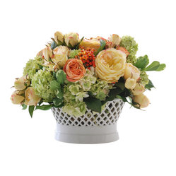 Jane Seymour Botanicals - Mixed Rose Planter - Old-fashioned charm abounds in this delightful permanent arrangement of roses, hydrangeas and berries in a cream ceramic planter. It would make a cheerful centerpiece for your dining table or a welcoming decorative accent for your entryway.