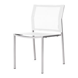 Mama Green - Zix Stacking Chair, White, Side Chair - The Zix collection by Mamagreen is a contract grade line of dining and casual furniture for your outdoor space. Relatively inexpensive in price but not lacking in durability, Zix promises to provide you with the longevity and beauty you want for your outdoor space. Batyline sling by Serge Ferrari will stand the test of time in the sun and the plantation teak and glass table top options work extremely well in all environments.