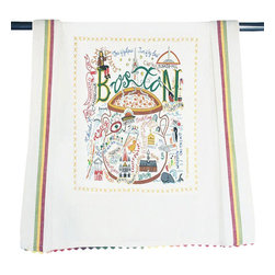 CATSTUDIO - Catstudio Boston Dish Towel - This original design celebrates the city of Boston.  This design is silk screened, then framed with ahand embroidered border on a 100% cotton dish towel/ hand towel/ guest towel/ bar towel. Three stripes down both sides and hand dyed rick-rack at the top and bottom add a charming vintage touch. Delightfully presented in a reusable organdy pouch. Machine wash and dry.