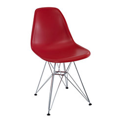 Modway Furniture - Modway Paris Dining Side Chair in Red - Dining Side Chair in Red belongs to Paris Collection by Modway These molded plastic chairs are both flexible and comfortable, with an exciting variety of base options. Suitable for indoors or out, appropriate for the living and dinning room, these versatile chairs are a great addition to any home decor statement. Set Includes: One - Paris Wire Side Chair Side Chair (1)