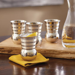 Tuscan Stainless Steel Striped Tumblers - Tuscan Stainless Steel Tumblers. Made from stainless steel inside and out, these tumblers will fit perfectly in your hand.