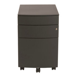 Euro Style - Euro Style Floyd File Cabinet 27985BLK - Two smaller upper drawers for rocks, scissors and paper. You could use the rocks for paperweights when the game is over. The bottom drawer is a 22 inch file cabinet full extension slides and a supporting front coaster.
