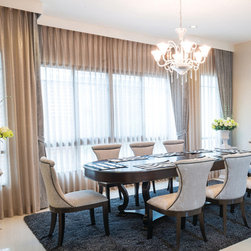 Custom Curtains and Drapes - Design your own custom curtains or drapes for your dining room with your choice of over 2000 distinctive fabrics, modern styles, and multiple options.