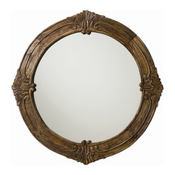 Arteriors - Heaton Mirror - This round solid wood mirror features rich carved detailing in a sandblast antique waxed finish. An impressive classic design made fresh with this casual finish. Security cleat attachment.
