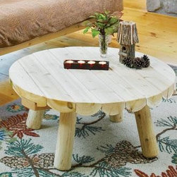 """Bozeman Round Coffee Table - Bozeman Coffee Table 32"""" dia., 14"""" H. This stubby-legged rustic table is ready for long-wearing use winter and summer season after season."""