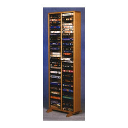 Wood Shed - 18 in. VHS Storage Tower w Individual Locking - Finish: DarkTwo storage compartments. Capacity: 80 VHS tapes. Made from solid oak. Honey oak finish. 18 in. W x 12.25 in. D x 53 in. H
