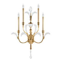 Fine Art Lamps - Beveled Arcs Gold Sconce, 762550ST, by Fine Art Lamps - You know you're ahead of the curve when it comes to elegance and style. Let this sconce show it off. Along with four bulbs, the antique-inspired arcs in gold leaf and faceted crystals add just the right amount of sparkle. At 36 inches high, it will show your room — and guests — in the best light.