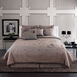Nostalgia Home - Nostalgia Home Petals Quilt - Picture perfect petals adorn this beautiful quilt, featuring a sophisticated grey color scheme and floral appliques that evoke a boho chic look with luxe quilted, pleated, and ruched details.