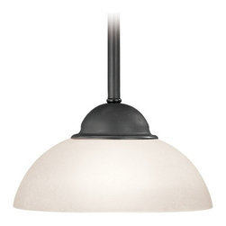 Dolan Designs Lighting - Bronze Mini-Pendant Light with White Dome Glass - 200-46 - Perfect for a kitchen island or nook, several mini-pendants may be hung to match the width of your space. Includes three 12-inch and one 6-inch stem segments to customize the length according to ceiling height. A swivel ceiling adapter which accommodates sloped ceilings is also included. Dolan Designs� 3-Light Mounting Plate, product may be used to fit three mini-pendants on one mounting plate that swivels to adjust to sloped ceilings. Takes (1) 60-watt incandescent G16.5 bulb(s). Bulb(s) sold separately. UL listed. Dry location rated.