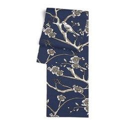 Blue Modern Chinoiserie Custom Table Runner - Get ready to dine in style with your new Simple Table Runner. With clean rolled edges and hundreds of fabrics to choose from, it's the perfect centerpiece to the well set table. We love it in this dark blue and white modern chinoiserie print with blossoms and birds branching out across a soft lightweight cotton.