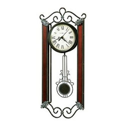 HOWARD MILLER - Carmen Wrought Iron Wall Clock - Wrought iron wall clock with cast decorative corner ornaments finished in warm gray, dusty wax highlights.