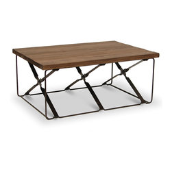 Palecek - Camden Coffee Table - Plantation hardwood top. Twisted flat metal bar base with metal rivets. Uneven planks distressed and chiseled to give the appearance of age.