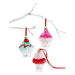 Box of 3 Mini Cupcake Ornaments - These are a sweet treat. Dangle these delectable little goodies from your branches to add color and sugary sweetness without all the calories. Yum!