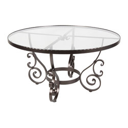 """San Cristobal 48""""Rd. Glass Top Dining Table With 2"""" Umbrella Hole - Dimensions -"""