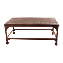 Kathy Kuo Home - Lyman Industrial Rustic Caster Feet Coffee Table - This modern coffee table will fit right in between your vintage leather couch and chairs. The rusted metal base and casters showcase its vintage origin while its rustic wooden top provides a platform for any and all urban living room essentials.