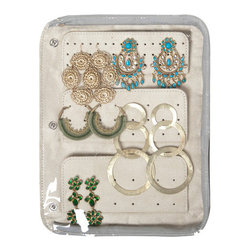 Clos-ette Too - Signature Travel Jewelry Case 0.46 lb, Navy by Clos-ette Too - Store even more of your favorite earrings with our all-new Pierced Earring Page Insert. The two-sided ultra-suede page features space for stud, medium, and large pierced earrings. It easily snaps into our Travel Jewelry Cases's existing pages.
